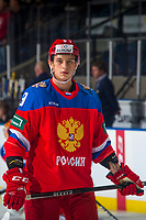 KELOWNA, BC - DECEMBER 18:  Artem Galimov #9 of Team Russia stands on the ice during warm up against the Team Sweden at Prospera Place on December 18, 2018 in Kelowna, Canada. (Photo by Marissa Baecker/Getty Images)***Local Caption***