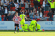 Andrew Mangan celebrates his goal during the Vanarama National League match between Cheltenham Town and Tranmere Rovers at Whaddon Road, Cheltenham, England on 26 September 2015. Photo by Antony Thompson.