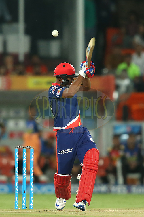 Mayank Agarwal of Delhi Daredevils top edges a delivery to the boundary during match 42 of the Vivo IPL 2016 (Indian Premier League) between the Sunrisers Hyderabad and the Delhi Daredevils held at the Rajiv Gandhi Intl. Cricket Stadium, Hyderabad on the 12th May 2016<br /> <br /> Photo by Shaun Roy / IPL/ SPORTZPICS