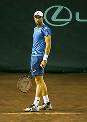 April 13, 2018 - Houston, TX, U.S. - HOUSTON, TX - APRIL 13:  Steve Johnson of the United States waits for the signal to serve in the match against John Isner of the United States during the Quarterfinal round of the Men's Clay Court Championship on April 13, 2018 at River Oaks Country Club in Houston, Texas.  (Photo by Leslie Plaza Johnson/Icon Sportswire) (Credit Image: © Leslie Plaza Johnson/Icon SMI via ZUMA Press)