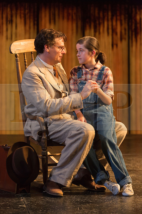 "© Licensed to London News Pictures. 25/06/2015. London, UK. Robert Sean Leonard as Atticus Finch and Ava Potter as Scout. Photocall for ""To Kill a Mockingbird"" at the Barbican Theatre with Robert Shean Leonard as Atticus Finch and Ava Potter as Scout.  The Regent's Park Open Air Theatre production directed by Timothy Sheader will be at the Barbican from 24 June to 25 July 2015. Adapted for the stage by Christopher Sergel based on the novel by Harper Lee. Photo credit : Bettina Strenske/LNP"