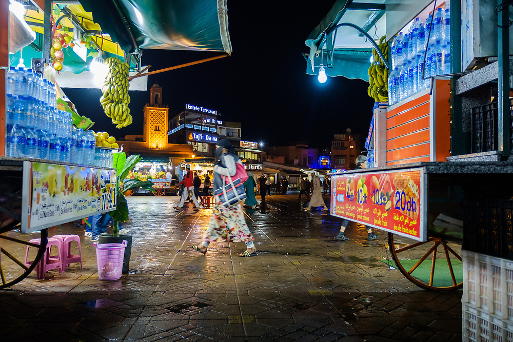 MARRAKESH, MOROCCO - CIRCA APRIL 2017: Food carts overlooking the Jemaa el-Fnaa square in Marrakesh