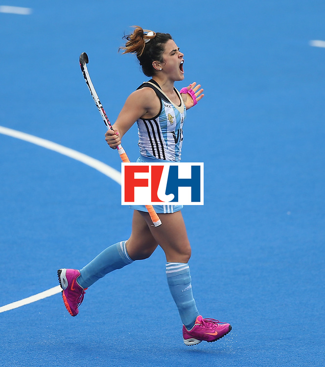LONDON, ENGLAND - JUNE 23:  Maria Granatto of Argentina celebrates after scoring their fourth goal during the FIH Women's Hockey Champions Trophy match between Argentina and New Zealand at Queen Elizabeth Olympic Park on June 23, 2016 in London, England.  (Photo by Alex Morton/Getty Images)