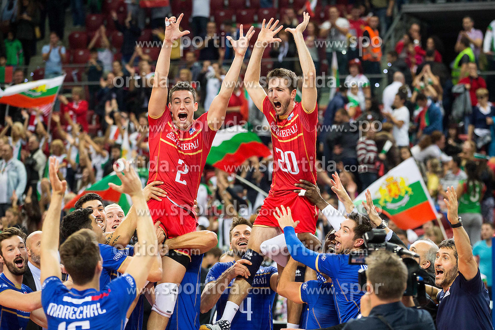 Nicolas Marechal #16 of France, Jenia Grebennikov #2 of France, Nicolas Rossard #20 of France and other players celebrate after winning during volleyball match between National teams of France and Bulgaria in 2nd Semifinal of 2015 CEV Volleyball European Championship - Men, on October 17, 2015 in Arena Armeec, Sofia, Bulgaria. Photo by Vid Ponikvar / Sportida