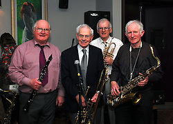 Westport town band and Jazz musicians from around the county attending the night honouring Larry Hingerton at the Plaza Hotel Westport.. PJ Duffy , Larry Hingerton, Albert Walsh and Gerry Hughes...Pic Conor McKeown