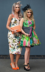 LIVERPOOL, ENGLAND - Friday, April 4, 2014: Alex Adams and Rebecca Bailey from Ormskirk wearing Ted Baker during Ladies' Day on Day Two of the Aintree Grand National Festival at Aintree Racecourse. (Pic by David Rawcliffe/Propaganda)