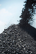 Coal heap being formed from mining machinery