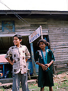 Young indian boy and girl in Diglipoor town, North Andaman Island