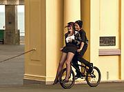 Couple on bicycle,New Zealand