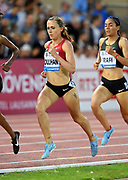 Shelby Houlihan (USA) wins the women's 1,500m in 3:57.34 during the 2018 Athletissima in an IAAF Diamond League meeting at Stade Olympique de la Pontaise in Lausanne, Switzerland on Thursday, July 5, 2018. (Jiro Mochizuki/Image of Sport)