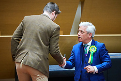 © Licensed to London News Pictures. 09/06/2017. Aylesbury, UK.  Speaker John Bercow reacts after being announced as the winner of the Buckingham constituency in the 2017 general election. Nearly 2,000 votes were spoiled or otherwise invalid reflecting growing anger over the continued disenfranchisement of the area. Also in this picture: Scott Raven (Independent) (left).  Photo credit: Cliff Hide/LNP