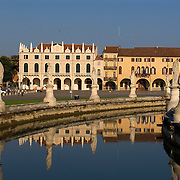 Prato della Valle, canal and houses next to the Loggia Amulea, Padova Italy