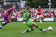 Forest Green Rovers George Williams(11) plays the ball into the penalty area during the Pre-Season Friendly match between Forest Green Rovers and Bristol City at the New Lawn, Forest Green, United Kingdom on 24 July 2019.