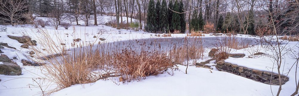 Winter snow and ice in the Pond Garden at Chanticleer Garden, Pennsylvania, USA