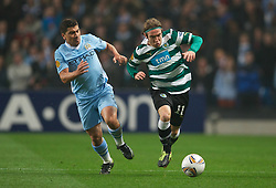 MANCHESTER, ENGLAND - Thursday, March 15, 2012: Sporting Clube de Portugal's Diego Capel in action against Manchester City during the UEFA Europa League Round of 16 2nd Leg match at City of Manchester Stadium. (Pic by David Rawcliffe/Propaganda)