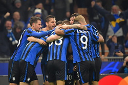 November 26, 2019, Milano, Milano, Italia: Foto LaPresse/Massimo Paolone.26 Novembre 2019 Milano, Italia.Sport.Calcio.Atalanta vs Dinamo Zagabria - Uefa Champions League 2019 2020 - Fase a gironi - Gruppo C.Nella foto: Alejandro Gomez (Atalanta Bergamasca Calcio) celebrates after scoring goal 2-0..Photo LaPresse/Massimo Paolone.November 26, 2019 Milan, Italy.sport.soccer.Atalanta vs Dinamo Zagreb - Uefa Champions - Group stage - Group C .In the pic: Alejandro Gomez (Atalanta Bergamasca Calcio) celebrates after scoring goal 2-0 (Credit Image: © Massimo Paolone/Lapresse via ZUMA Press)