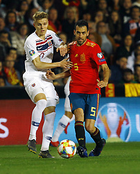 March 23, 2019 - Valencia, Community of Valencia, Spain - Norway's Martin Odegaard and Spain's Sergio Busquets seen in action during the Qualifiers - Group B to Euro 2020 football match between Spain and Norway in Valencia, Spain. Spain beat Norway, 2-1 (Credit Image: © Manu Reino/SOPA Images via ZUMA Wire)