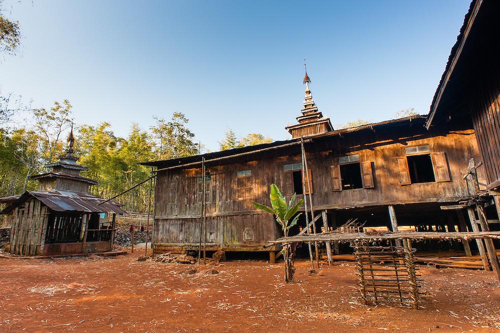 Teak Buddhist monastery near Kalaw (Myanmar)