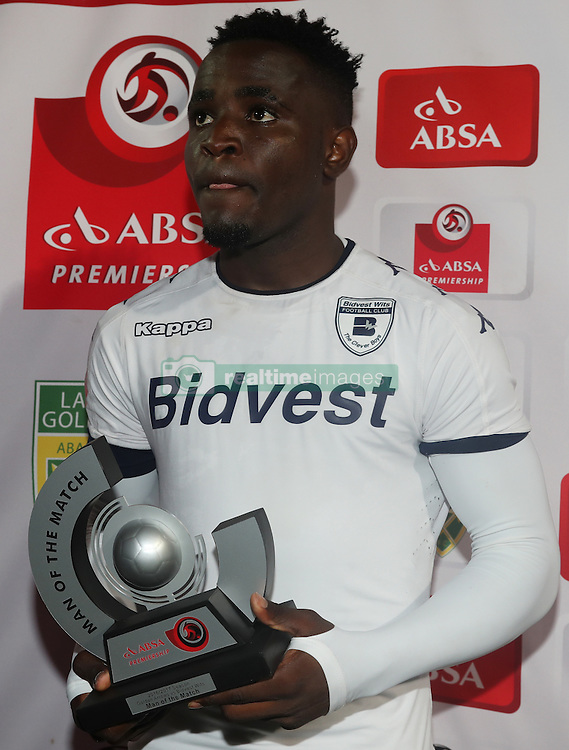 Man of the match Gabadinho Mhango of Bidvest Wits during the 2016 Premier Soccer League match between Golden Arrows and Bidets Wits held at the Princess Magogo Stadium in Durban, South Africa on the 14th December 2016<br /> <br /> Photo by:   Steve Haag / Real Time Images