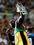 epa02893426 Usain Bolt of Jamaica pictured after competing in the men 200m semi final during the 13th IAAF World Championships in Daegu, Republic of Korea, 02 September 2011.  EPA/NIC BOTHMA