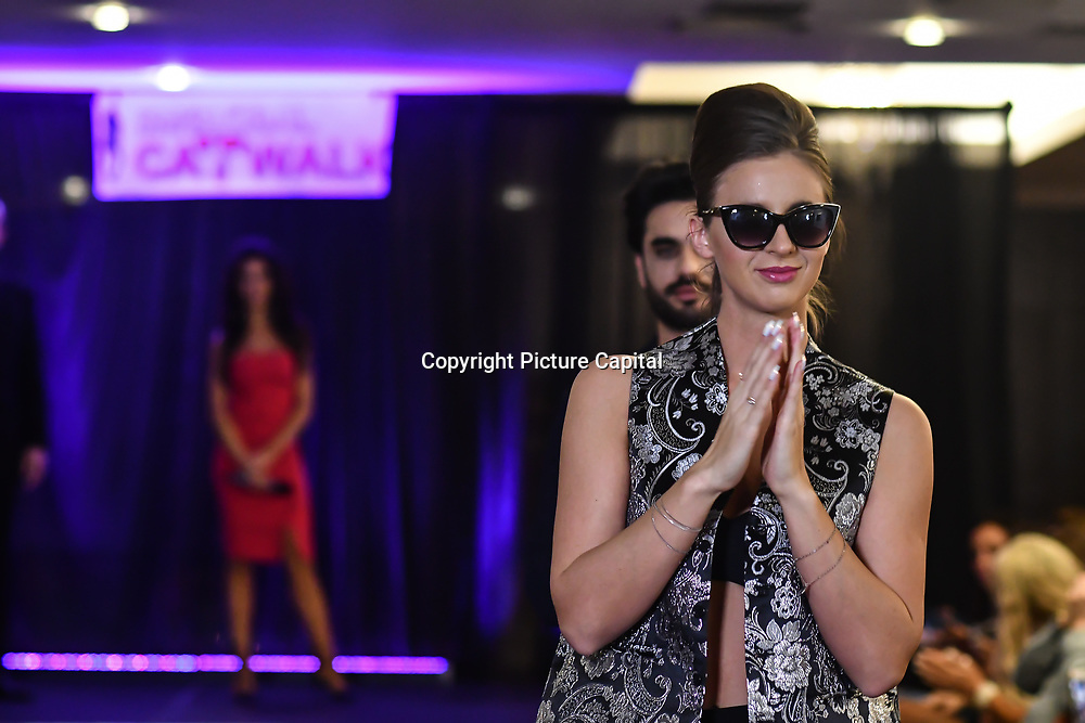 Samina Mughal showcases a set (Blazers) at SMGlobal Catwalk - London Fashion Week F/W19 at Clayton Crown Hotel,  Cricklewood Broadway, on 1st March 2019, London, UK.