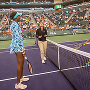March 11, 2016, Palm Springs, CA:<br /> Coin toss before a match between Venus Williams and Kurumi Nara during the 2016 BNP Paribas Open at the Indian Wells Tennis Garden in Indian Wells, California Friday, March 11, 2016. It was her first return to the BNP Paribas Open in 15 years.<br /> (Photos by Billie Weiss/BNP Paribas Open)