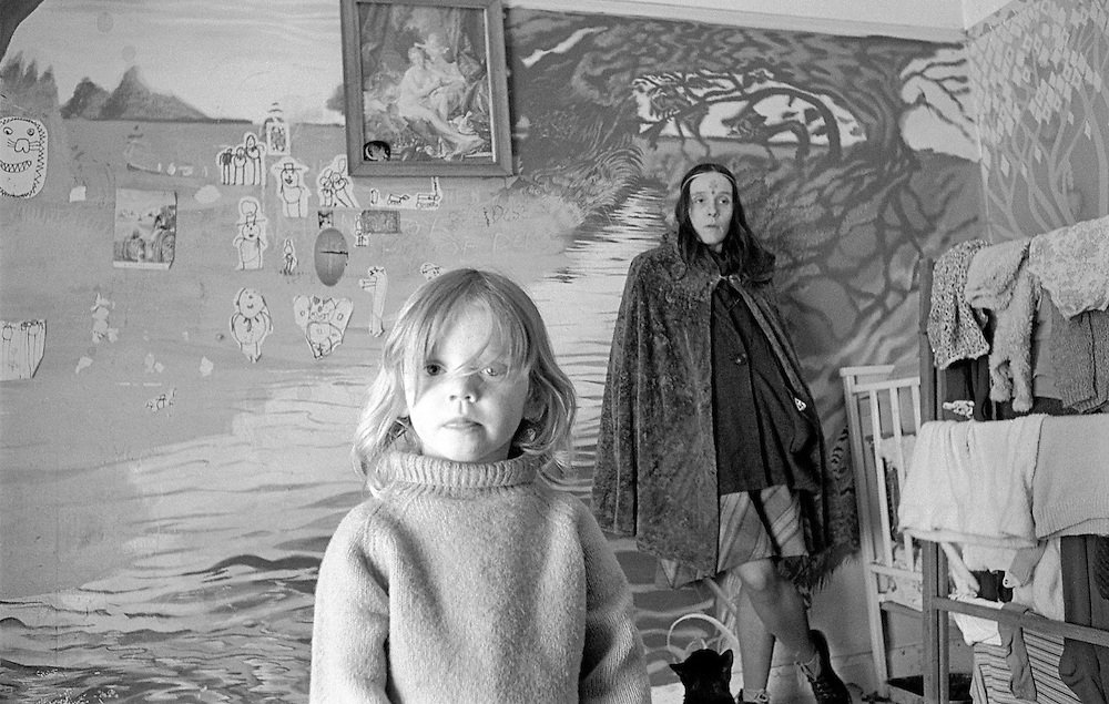 Joy and her daughter Angel living in the Old Police Station, Glastonbury, Somerset, England.