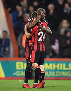 Ryan Fraser (24) of AFC Bournemouth celebrates the 2-1 win at full time with Benik Afobe (9) of AFC Bournemouth during the Premier League match between Bournemouth and Everton at the Vitality Stadium, Bournemouth, England on 30 December 2017. Photo by Graham Hunt.