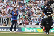 England Adil Rashid ponders after runs are scored off his bowlingduring the Royal London One Day International match between England and New Zealand at the Oval, London, United Kingdom on 12 June 2015. Photo by Phil Duncan.