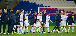 CARDIFF, WALES - Tuesday, August 21, 2014: England players celebrate after their 4-0 victory over Wales during the FIFA Women's World Cup Canada 2015 Qualifying Group 6 match at the Cardiff City Stadium. (Pic by David Rawcliffe/Propaganda)