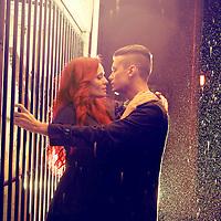 Couple, romantic moment in the rain