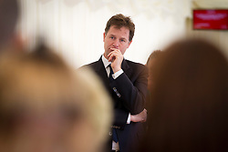 © Licensed to London News Pictures. 10/10/2013. London, UK. The deputy prime minister, Nick Clegg (C), listens to talks at a Parliamentary reception hosted by mental health charities 'Time to Change', 'Mind' and 'Rethink Mental Illness' in London today (10/10/2013). The event held on 'World Mental Health Day' saw the Deputy Prime Minister, Nick Clegg, and the Care and Support Minister, Norman Lamb, joined by cross party MP's and peers, reinforce the need to tackle the stigma and discrimination surrounding mental health problems.  Photo credit: Matt Cetti-Roberts/LNP