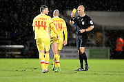 MK Dons Forster-Caskey is yellow carded during the The FA Cup match between Northampton Town and Milton Keynes Dons at Sixfields Stadium, Northampton, England on 9 January 2016. Photo by Dennis Goodwin.