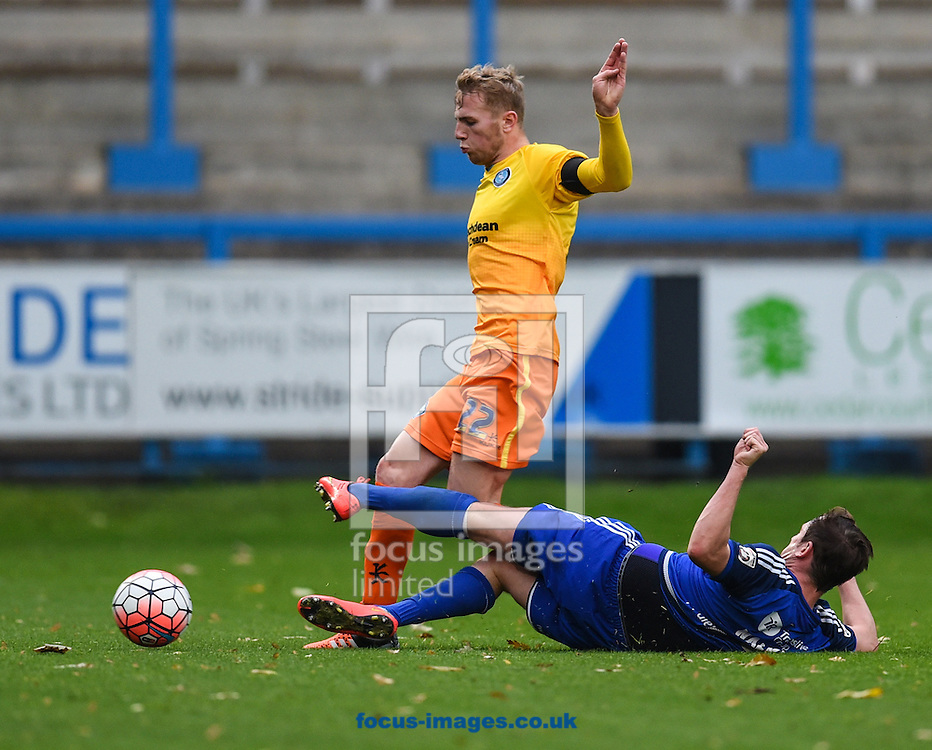 Sam Walker of FC Halifax fouls Jason McCarthy of Wycombe Wanderers during the FA Cup match at Shay Stadium, Halifax<br /> Picture by Richard Land/Focus Images Ltd +44 7713 507003<br /> 08/11/2015