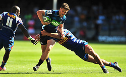 Cape Town-180317 Micheal Collins  of Blues tackled by Dillyn Leyds of DHL Stomers in the Super Rugby tournament  at Newlands rugby stadium.Photograph:Phando Jikelo/African News Agency/ANA