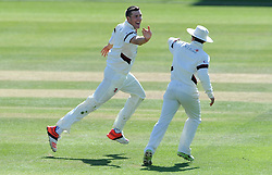 Somerset's Craig Overton celebrates the wicket of Yorkshire's Glenn Maxwell Photo mandatory by-line: Harry Trump/JMP - Mobile: 07966 386802 - 26/05/15 - SPORT - CRICKET - LVCC County Championship - Division 1 - Day 3 - Somerset v Yorkshire - The County Ground, Taunton, England.