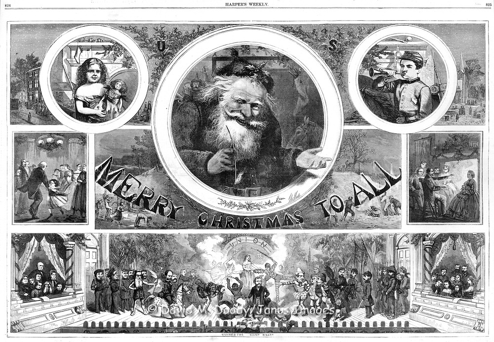 "1865 ""Merry Christmas to All""  Christmas with Santa Claus by Nast. Early Nast Christmas Illustration at the end of the Civil War. Harper's Weekly December 1865 by Thomas Nast. Also includes a political commentary with stage scene at bottom featuring figures from the Civil War, celebrating the Union's Victory, shows Grant, Lee and many others"