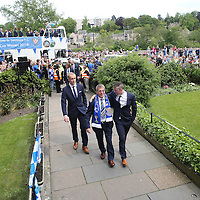 St Johnstone v Dundee United....18.05.14   William Hill Scottish Cup Final<br /> St Johnstone owner Geoff Brown walks into the civic recpetion with Tom Scobbie after the open top bus parade<br /> Picture by Graeme Hart.<br /> Copyright Perthshire Picture Agency<br /> Tel: 01738 623350  Mobile: 07990 594431