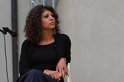 May 30, 2017 - Rome, Italy, Italy - The duo formed by Ludovica Valori and Paolo Camerini performed live at the International House of Women in Rome on 30/5/2017 along with Palestinian actress Dalal Suleiman who has read texts from Palestinian writers. In this picture Dalal Suleiman (Credit Image: © Leo Claudio De Petris/Pacific Press via ZUMA Wire)