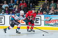 KELOWNA, CANADA - APRIL 14: Tomas Soustal #15 of the Kelowna Rockets attempts to block a pass by Brad Ginnell #27 of the Portland Winterhawks on April 14, 2017 at Prospera Place in Kelowna, British Columbia, Canada.  (Photo by Marissa Baecker/Shoot the Breeze)  *** Local Caption ***