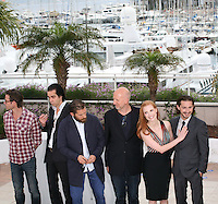 Jason Clarke, Guy Pearce, Nick Cave, Tom Hardy, John Hillcoat, Jessica Chastain, Shia Labeouf at the Lawless film photocall at the 65th Cannes Film Festival. The screenplay for the film Lawless was written by Nick Cave and Directed by John Hillcoat. Saturday 19th May 2012 in Cannes Film Festival, France.