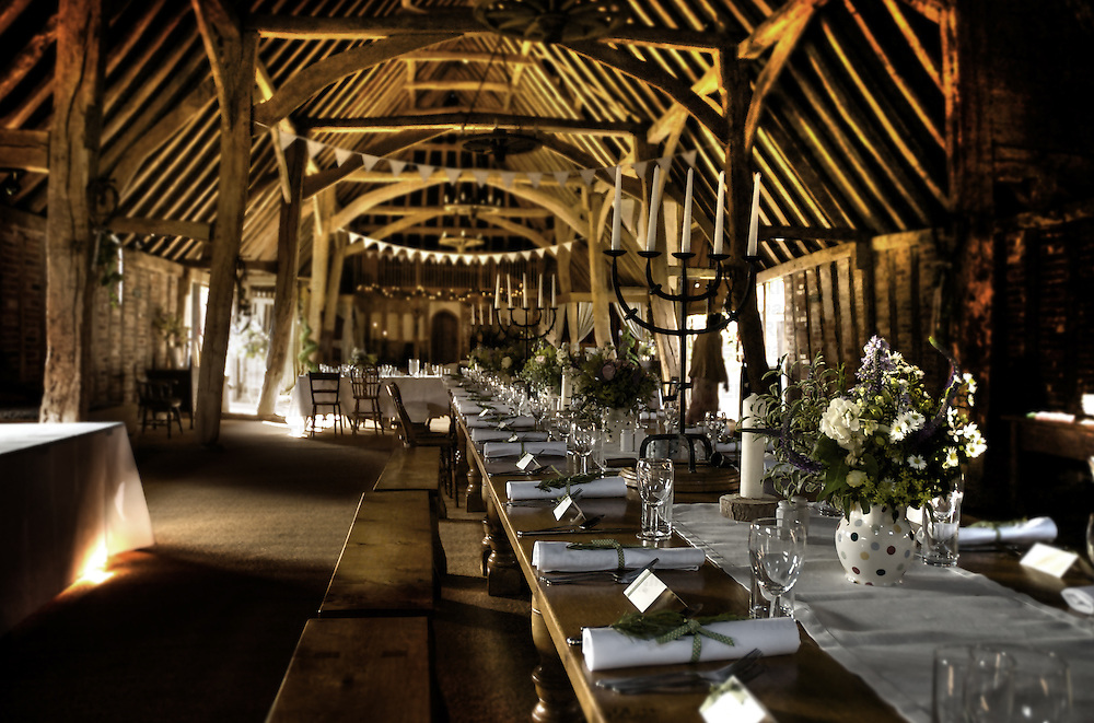 Debbie & Dave's wedding reception in an old barn in Suffolk England