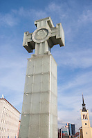 Low angle view of Freedom Monument against cloudy sky; Tallinn; Estonia; Europe