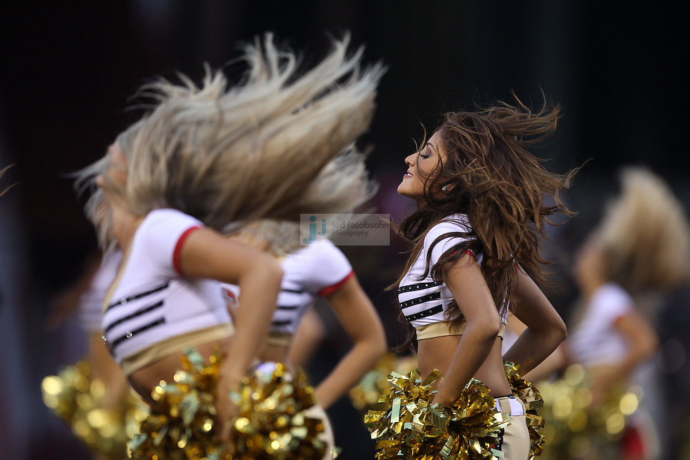 San Francisco, CA - August 20 :  Cheerleaders perform during the San Francisco 49ers and the Oakland Raiders game on August 2011, 2011 in San Francisco, California. (Photo by Jed Jacobsohn)
