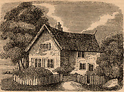 The house at Coton Hill near Shrewsbury, Shropshire, England, in which Admiral Benbow was born.  John Benbow (1653-1702) English naval commander,  Vice-Admiral 1701.  In the West Indies, off Santa Marta, he encountered superior French forces under Du Casse on 19 August 1702. His leg was shattered by chain-shot and, deserted by his captains, he died in Jamaica of his wounds in October. Remembered as 'Brave Benbow'.   Engraving from 'The Mirror of Literature, Amusement, and Instruction' (London, 1838).