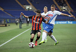 May 26, 2019 - Kharkiv, Ukraine - Midfielder Manor Solomon (L) of FC Shakhtar Donetsk and midfielder Serhii Horbunov (R) of FC Mariupol are seen in action during the Ukrainian Premier League Matchday 31 fixture at the Metalist Stadium Regional Sports Complex, Kharkiv, northeastern Ukraine, May 26, 2019. The Miners have already secured the 2018/2019 UPL title and this year's Ukrainian Cup becoming Ukraine's football club with the most number of trophies. Ukrinform. (Credit Image: © Vyacheslav Madiyevskyy/Ukrinform via ZUMA Wire)