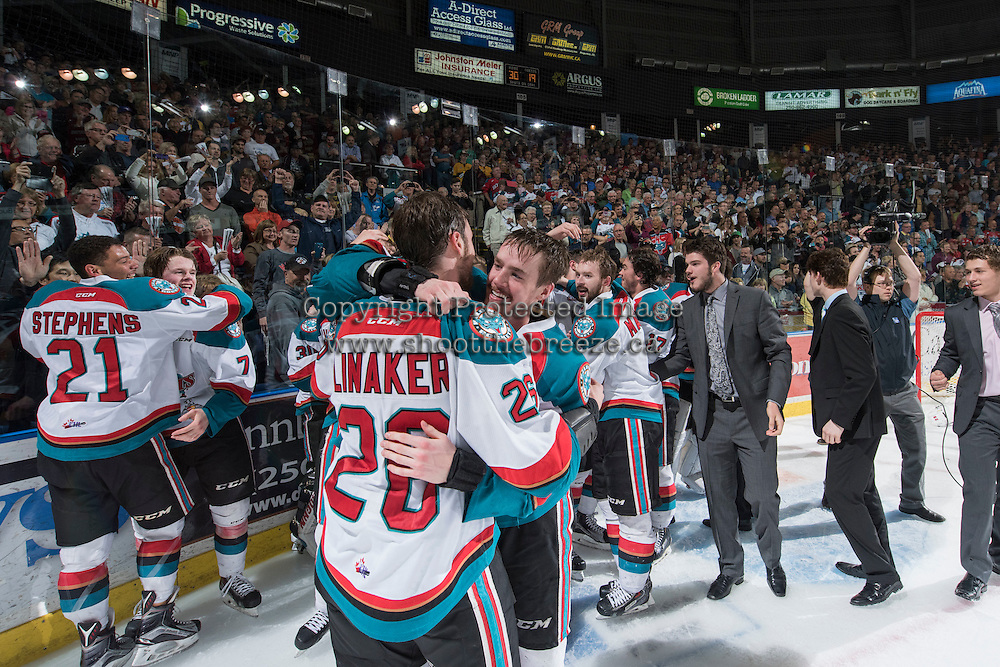 KELOWNA, CANADA - MAY 13:  The Kelowna Rockets celebrate the WHL championship title against the Brandon Wheat Kings on May 13, 2015 during game 4 of the WHL final series at Prospera Place in Kelowna, British Columbia, Canada.  (Photo by Marissa Baecker/Shoot the Breeze)  *** Local Caption *** Championship; celebration;
