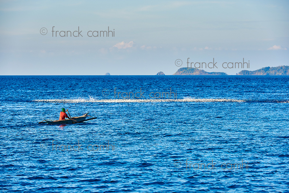 Palawan Philippines-April 5, 2015 :traditional fisherman fishing boat  in Palawan Philippines