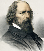 Alfred, Lord  Tennyson (1809-1892) British poet. Poet Laureate 1850. Tinted lithograph published c1880.