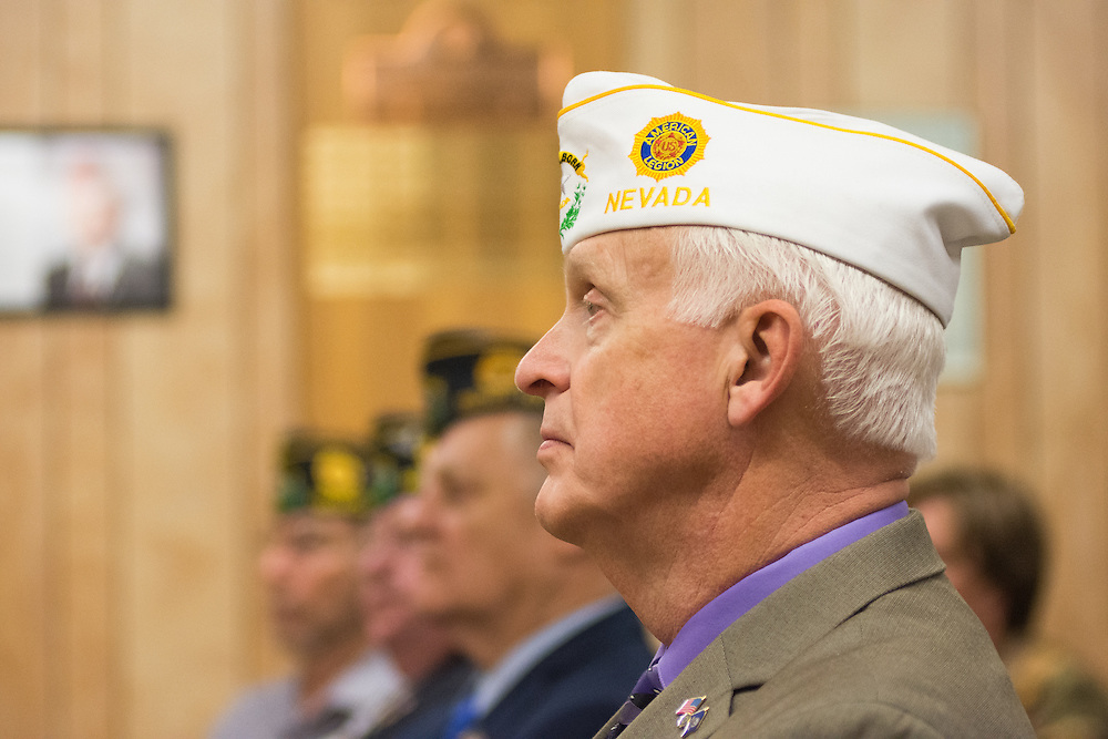 Commander Dave Evans of the American Legion Department of Nevada during a System Worth Saving town hall at Post 1 in Reno, Nev. on Tuesday, March 8, 2016. Photo by David Calvert /The American Legion.